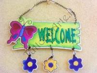 Scritta Welcome farfalla e fiori